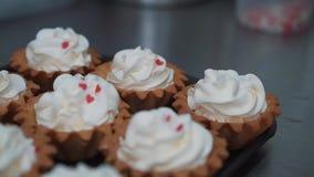 Het verfraaien van kop-cake met room Het gebruiken van kokende zak, banketbakker die veelkleurige cupcakes voor partij maken Gesc stock video