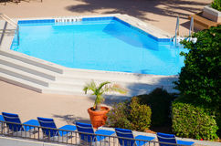 Het verfrissen van blauw zwembad met ligstoelen en groene installaties Royalty-vrije Stock Afbeeldingen