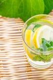 Het verfrissen zich detox goot sassy water met gember van de citroen de verse munt in glas op rieten lijst met houseplants op ach royalty-vrije stock fotografie