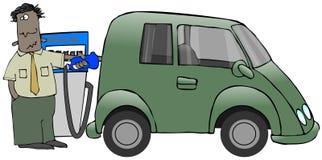 Het vergassen van Minivan Stock Afbeeldingen