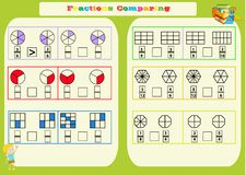 Het vergelijken van Fracties Wiskundig Aantekenvel vierkanten Kleurende boekpagina Wiskunderaadsel Onderwijs spel Vectorillustrat vector illustratie