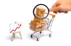 Het vergrootglas bekijkt de Supermarktkar met dozen en een grafiek met rode pijl, koopwaar: het concept het kopen stock afbeeldingen