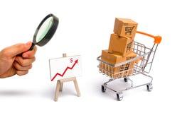 Het vergrootglas bekijkt de Supermarktkar met dozen en een grafiek met rode pijl, koopwaar: het concept het kopen royalty-vrije stock fotografie