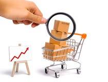 Het vergrootglas bekijkt de Supermarktkar met dozen en een grafiek met rode pijl, koopwaar: het concept het kopen stock foto's
