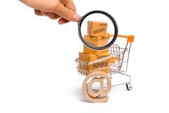 Het vergrootglas bekijkt de Supermarktkar met dozen, koopwaar: het concept het kopen van en het verkopen van goederen en diensten royalty-vrije stock fotografie