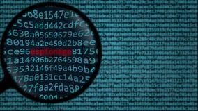 Het vergrootglas ontdekt woordspionage op het computerscherm het 3d teruggeven Stock Afbeeldingen