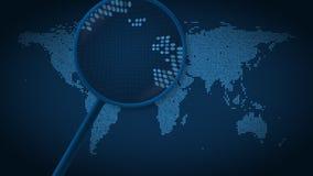 Het vergrootglas zoekt en vindt de stad van Londen op gestippelde wereldkaart Introanimatie stock video