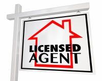 Het vergunning gegeven Teken 3d Illustratio van Makelaar in onroerend goedhome house seller Stock Afbeelding