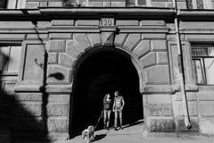 Het verhaal van de liefde stroll geliefde familie en hond toekomstige mamma en papa stock afbeeldingen