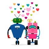 Het verhaal vectorillustratie van de robotliefde Stock Afbeelding