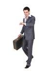 Het verhaasten van zakenman met een koffer Stock Afbeeldingen