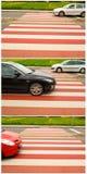 Het verkeer van de auto bij de voetgangersoversteekplaats Royalty-vrije Stock Foto's