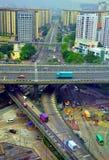 Het verkeer van de binnenstad in Hongkong stock afbeeldingen