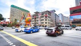 Het verkeer van de Chinatownstraat in Chinatowndistrict, Singapore stock foto