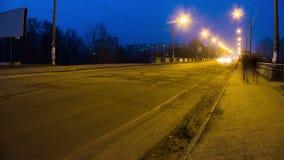Het Verkeer van de stadsstraat en van de Lichtentijd tijdspanne stock videobeelden