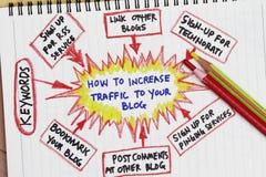 Het verkeer van de verhoging aan uw blog Royalty-vrije Stock Foto