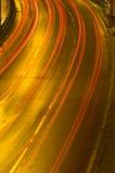 Het verkeer van de weg bij nacht Royalty-vrije Stock Foto