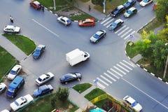 Het verkeer van het kruispunt Stock Afbeeldingen