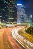 Het Verkeer van Hongkong bij Nacht Stock Foto