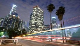 Het verkeer van Los Angeles en stadshorizon Royalty-vrije Stock Foto