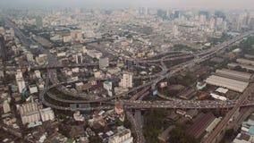 Het verkeers luchtmening van Bangkok stock footage