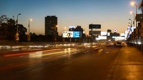 Het verkeersdag van Kaïro aan nachttijdspanne stock videobeelden