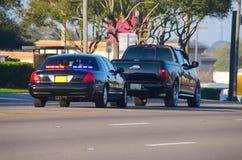 Het verkeerseinde van de politie Stock Foto
