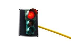 Het verkeerslicht dat op witte achtergrond wordt geïsoleerd is aangestoken rood royalty-vrije stock afbeeldingen
