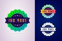 Het verklaarde kenteken van ISO 9001 Het etiket van drie kleurenvarianten voor certifi stock illustratie