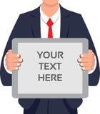 Het verklaren van of het aankondigen van projecten of om het even wat op de bericht-raad in een bedrijf stock illustratie