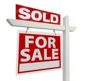 Het verkochte Teken van Onroerende goederen Stock Fotografie