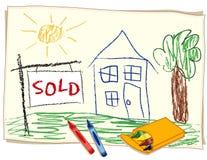 Het ?verkochte? Teken van Onroerende goederen, De Tekening van het Kleurpotlood Stock Fotografie