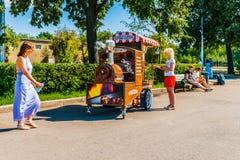 Het verkopen van geroosterde kastanjes in het park van Moskou Gorky Stock Foto's