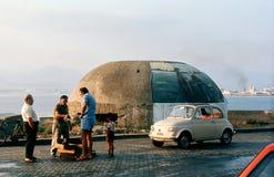 Het verkopen van vissen. Messina, Sicilië, Italië. Stock Foto's