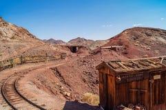 Het verlaten spookstadcalico, Californië, Verenigde Staten, richtte nu op in 1881, een park van de provincie Stock Foto
