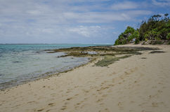Het verlaten strand van Geheimzinnigheid Eiland in Vanuatu Stock Afbeelding