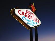 Het verlaten van het Teken van Las Vegas bij Nacht Royalty-vrije Stock Fotografie