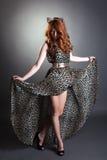 Het verleidelijke roodharigevrouw stellen in luipaardkleding Royalty-vrije Stock Fotografie