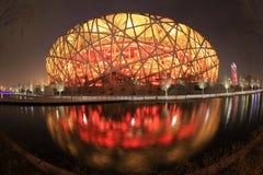 Het verlichte nest van de vogel in Peking Royalty-vrije Stock Fotografie