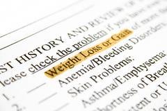 Het verlies of de aanwinst van het gewicht stock foto