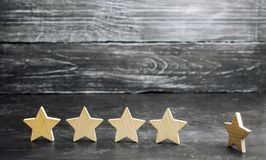 Het verlies van de vijfde ster van het restaurant of het hotel De daling van classificatie en erkenning Verslechtering in de dien royalty-vrije stock foto's