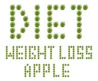 Het verlies van het dieet en van het gewicht dat van groene appelen wordt gemaakt Royalty-vrije Stock Afbeeldingen