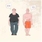 Het verlies van het gewicht Before and after Stock Afbeeldingen