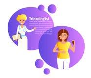 Het verliesadviseur Trichologist Cartoon Flat van het Trichologisthaar royalty-vrije illustratie
