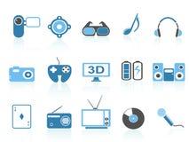 Het vermaakpictogrammen van media, blauwe reeks Stock Foto's