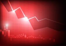 Het verminderen bedrijfsgrafiek op rode achtergrond Stock Foto