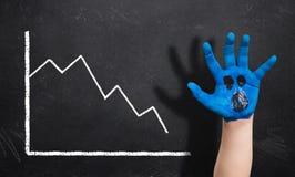 het verminderen grafiek op een bord en een geschilderde hand met een doen schrikken uitdrukking Stock Afbeelding