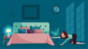 Het vermoeide meisje kruipt aan bed bij nacht Het binnenland van de avondslaapkamer in diepe blauwe tonen met maanlicht op muur D royalty-vrije illustratie