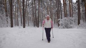 Het vermoeide vrouw proberen om een definitieve inspanning te leveren alvorens het sneeuwhout te verlaten en ontspant warm dragen stock footage