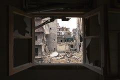 Het vernietigde ziekenhuis die Aleppo bouwen. Royalty-vrije Stock Afbeeldingen